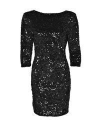 Boohoo - Black Louise Sequin Long Sleeve Bodycon Dress - Lyst