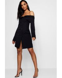 3bf3fcc8d6fb0 Boohoo Double Breasted Off The Shoulder Blazer Dress in Black - Lyst