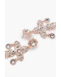 Boohoo - Multicolor Lucy Statement Diamante Cross Earrings - Lyst