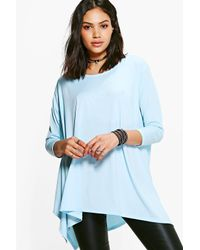 Boohoo - Blue Faye Hem Detail T-shirt - Lyst