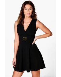 Boohoo | Black Liza Cross Front Sleeveless Skater Dress | Lyst