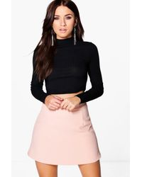 Boohoo - Multicolor Orla Textured Woven A Line Mini Skirt - Lyst