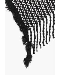 Boohoo - Black Lily Textured Tassel Edge Scarf - Lyst