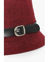Boohoo | Red Clara Wool Look Cloche Hat | Lyst