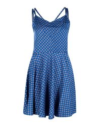 Boohoo - Blue Grace Printed Skater Dress - Lyst
