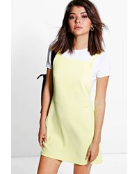 Boohoo - Yellow Alexis Pinafore Mini Dress - Lyst