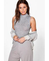 Boohoo - Gray Amelia Rib Knit High Neck Bodysuit - Lyst