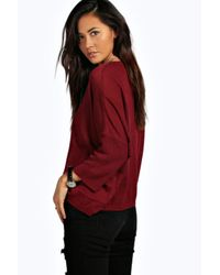 Boohoo - Natural Candy Batwing Jumper - Lyst