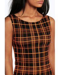Boohoo - Brown Eleanor Neon Check Sleeveless Mini Dress - Lyst