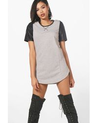 34213f10d5b5 Lyst - Boohoo Megan Faux Leather Sleeved Dress in Gray
