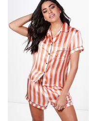 Boohoo - Orange Laura Stripe Short And Shirt Pj Set - Lyst