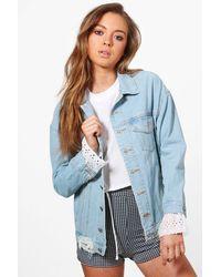 Boohoo | Blue Eve Broderie Anglaise Denim Jacket | Lyst
