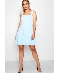Boohoo - Blue Plus Crepe Square Neck Skater Dress - Lyst