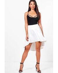 Boohoo - White Tall Loren Leather Look Midi Skirt - Lyst