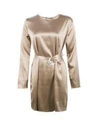 Boohoo - Multicolor Henrietta Satin D-ring Belted Shift Dress - Lyst