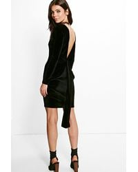 Boohoo - Black Ruth Velvet Open Back Drape Detail Bodycon Dress - Lyst