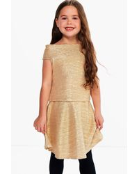 Boohoo - Metallic Girls Off The Shoulder Party Top - Lyst