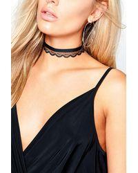 Boohoo - Black Plus Kerry Velvet + Lace Double Layer Choker - Lyst
