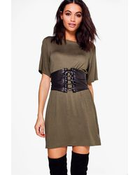 3815ea3c83 Lyst - Boohoo 2 In 1 Corset Belt T-shirt Dress