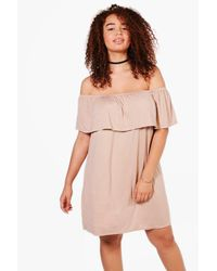 Boohoo - Pink Plus Pixie Off The Shoulder Dress - Lyst