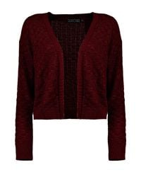 Boohoo - Red Checkerboard Knit Cardigan - Lyst