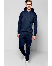 Boohoo - Blue Skinny Hooded Tracksuit With Zip Details - Lyst
