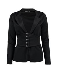Boohoo - Black Kareena Corset Belt Tailored Blazer - Lyst