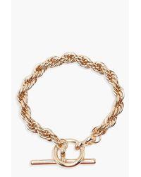 Boohoo - Metallic Chunky Chain T Bar Bracelet - Lyst