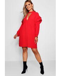 Boohoo Plus Lace Choker Ruffle Smock Dress in Red - Lyst f2292a3ef