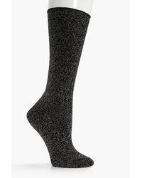 Boohoo | Black Kelly Roll Top Lurex Socks | Lyst
