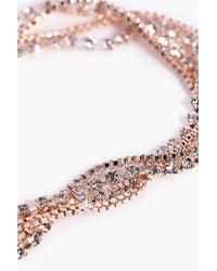 Boohoo | Metallic Lena Twisted Multi Chain Diamante Anklet | Lyst