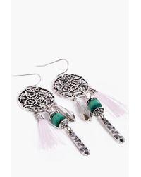 Boohoo - Metallic Layla Tassel Dreamcatcher Earrings - Lyst