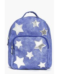 Boohoo | Blue Amelia Star Print Backpack | Lyst