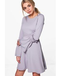 Boohoo - Gray Olivia Frill Sleeve Skater Dress - Lyst