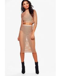 Boohoo Multicolor Katie Cut Out Mesh Crop & Midi Skirt