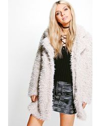 Boohoo - Natural Jennifer Shaggy Faux Fur Coat - Lyst
