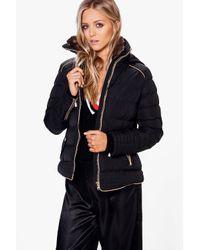 Boohoo | Black Julia Fitted Bubble Coat | Lyst