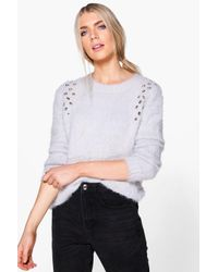 Boohoo | Gray Amelia Fluffy Eyelet Detail Knit Jumper | Lyst