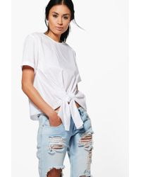 Boohoo | White Kayla Knot Tie Front Short Sleeve Woven Shirt | Lyst