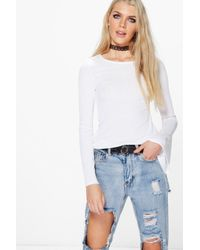 Boohoo | White Ria Ribbed Flare Sleeve Top | Lyst