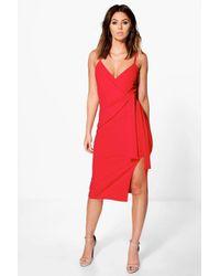Boohoo | Red Perri Strappy Wrap & Tie Detail Midi Dress | Lyst