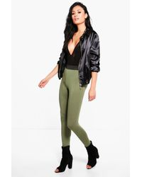 Boohoo | Green Evah Basic Contrast Waist Band Jersey Leggings | Lyst