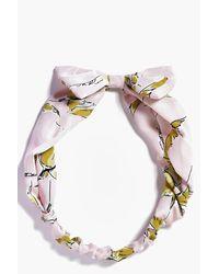 Boohoo | Georgina Pale Pink Print Bow Headband | Lyst