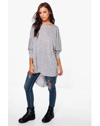 Boohoo   Gray Lola Dip Hem Knitted Oversized Top   Lyst