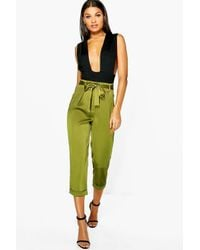 Boohoo | Green Ayah High Waist Belted Cropped Trousers | Lyst