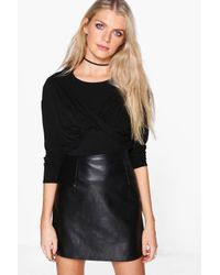 Boohoo - Black Carla Cross Over Long Sleeve Top - Lyst