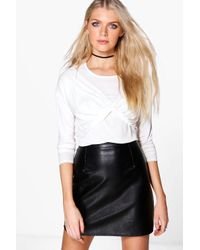 Boohoo | White Carla Cross Over Long Sleeve Top | Lyst