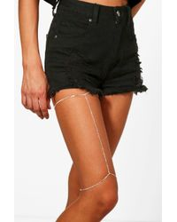 Boohoo - Metallic Mia Boutique Diamante Chain Leg Harness - Lyst