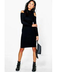 Boohoo - Black Karina Cold Shoulder Rib Knit Dress - Lyst