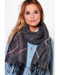 Boohoo   Pink Lena Simple Check Oversize Scarf   Lyst